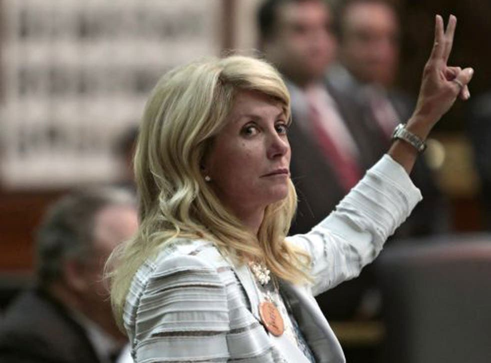 Won't back down: Wendy Davis's 11-hour filibustering has slowed down the passage of the Bill, but her party remains in the minority