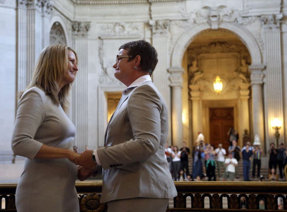 """State Attorney General Kamala Harris declared Perry, 48, and Stier, 50, """"spouses for life,"""" but during their vows, they took each other as """"lawfully wedded wife."""""""