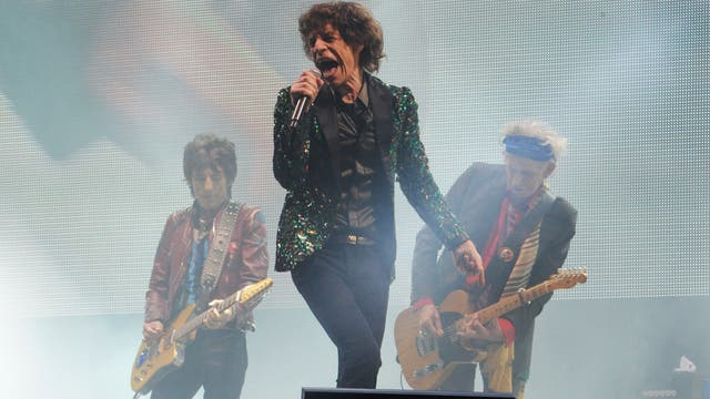 The Rolling Stones performing at Glastonbury