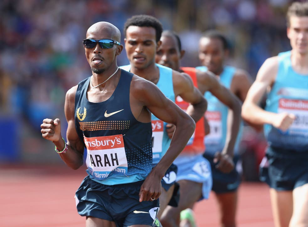 Mo Farah on his way to victory in the 5,000m