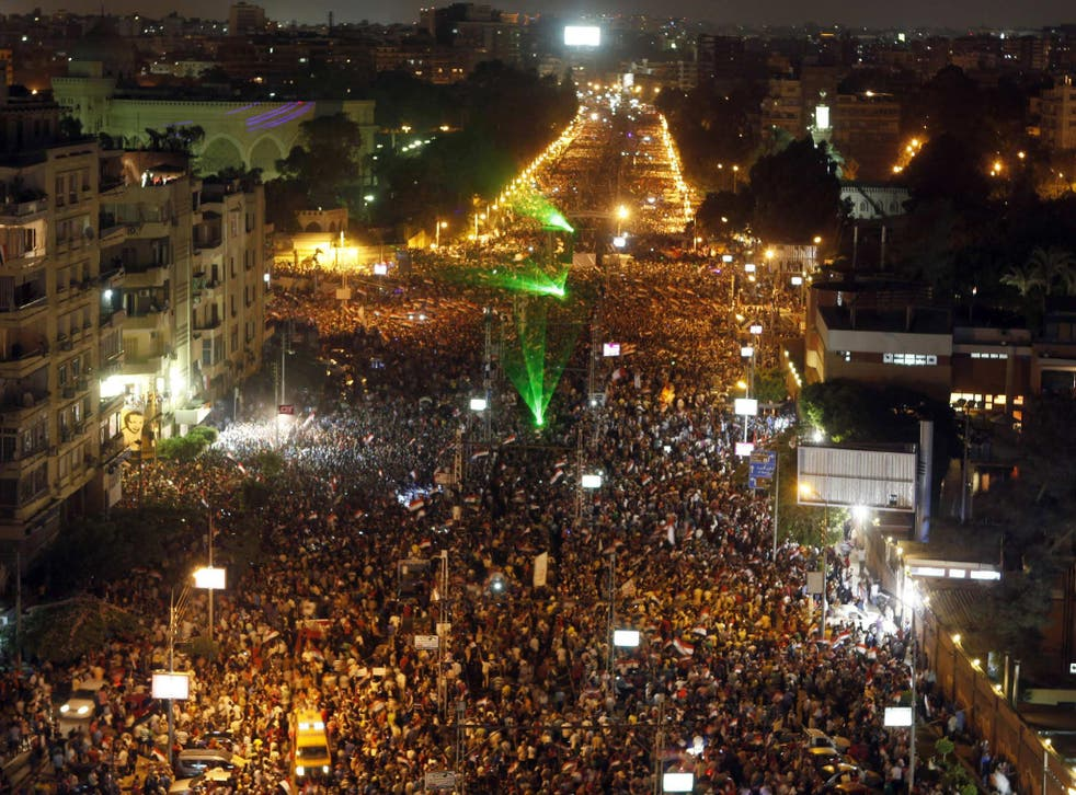 A general view of a protest on Monday night against Egyptian President Mohamed Morsi and the Muslim Brotherhood, in front of El-Thadiya presidential palace in Cairo
