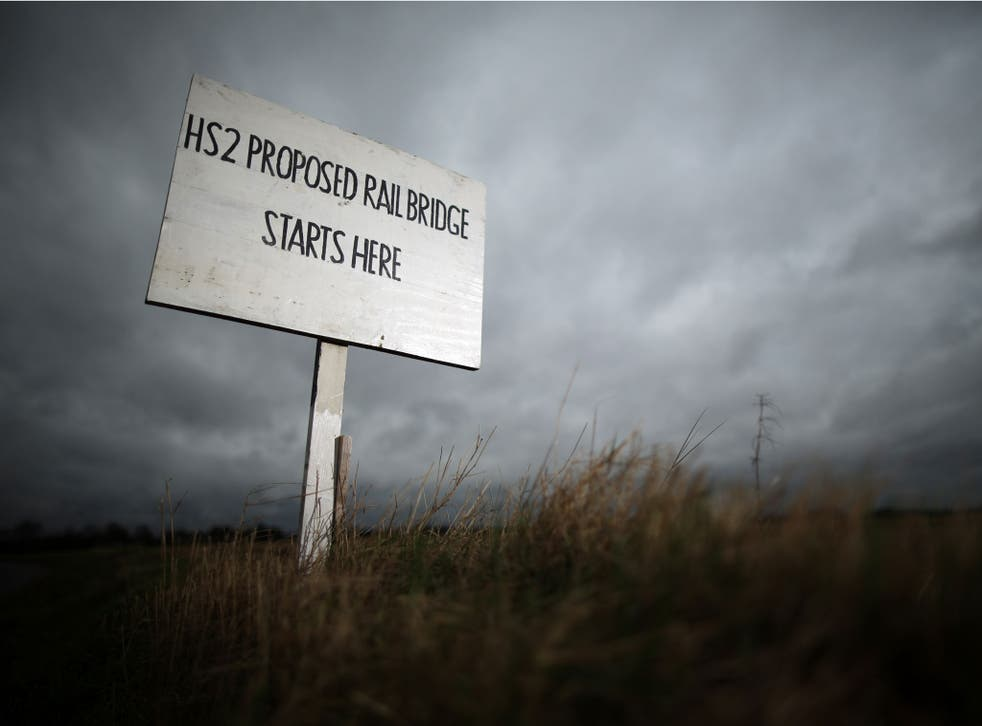 A sign erected by protesters marks the spot where a new rail bridge is proposed to be built across the countryside for the new HS2 high speed train link at the village of Middleton in Staffordshire on January 29, 2013 in Middleton near Tamworth, England.
