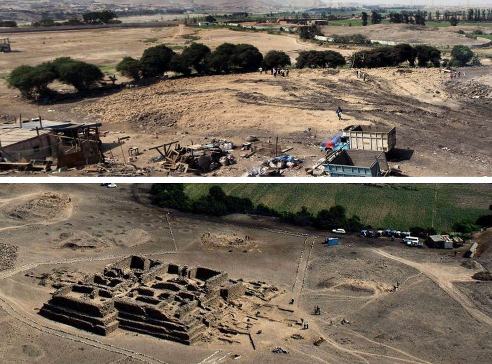 """After (above): A photograph released by the Peruvian Ministry of Culture showing the Archaeological Paradise Complex area where an unidentified group destroyed """"from its base, a pyramid that was 2,500 square meters and six meters high, known as Sector 12"""""""
