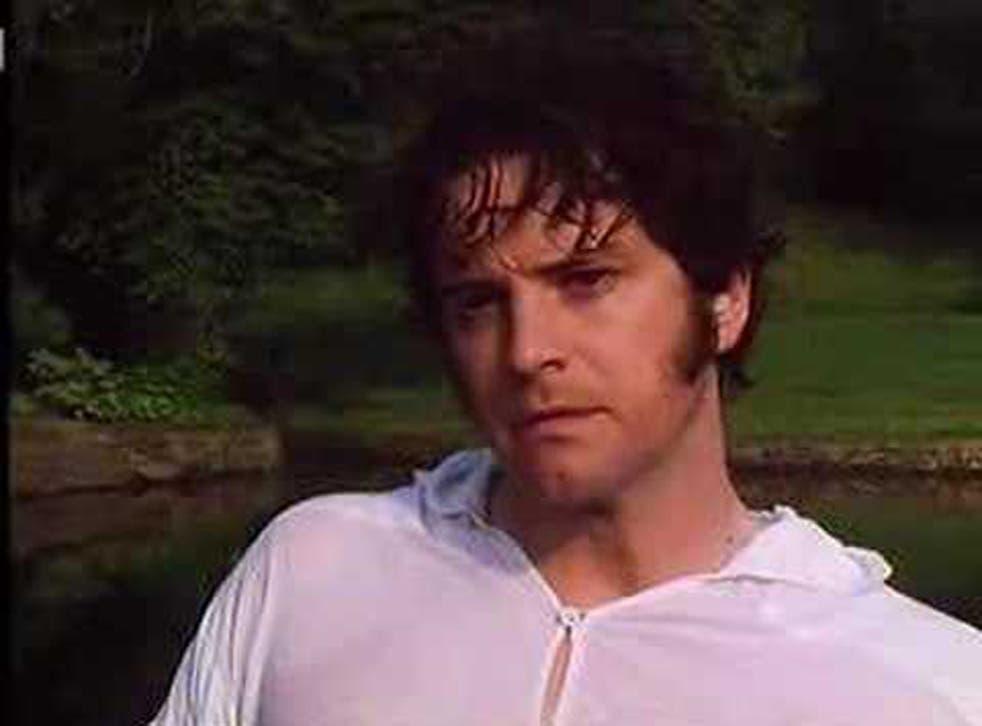 Colin Firth in the famous 'lake scene' in the BBC adaptation of Pride & Prejudice
