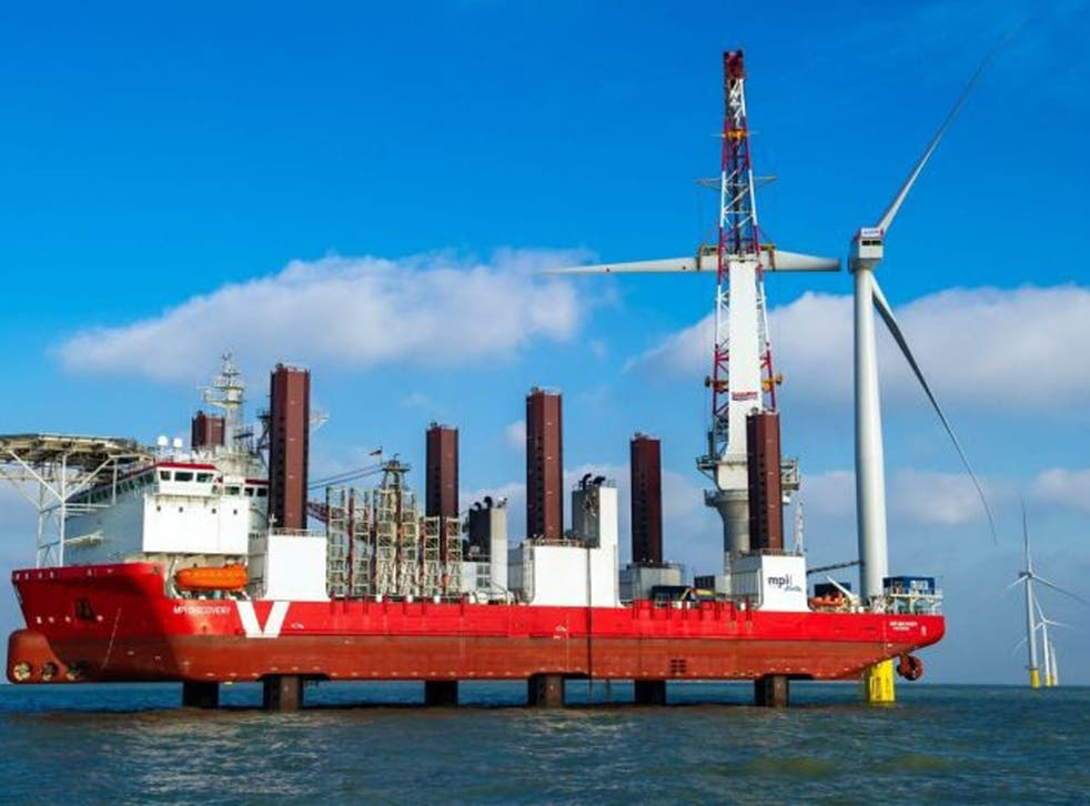Construction work on the world's largest offshore wind farm, The London Array, off the coast of Margate, Kent