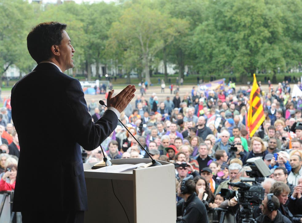 Leader of the Labour Party Ed Miliband addresses TUC members in Hyde Park at the end of a march in protest against the government's austerity measures on October 20, 2012 in London, England.