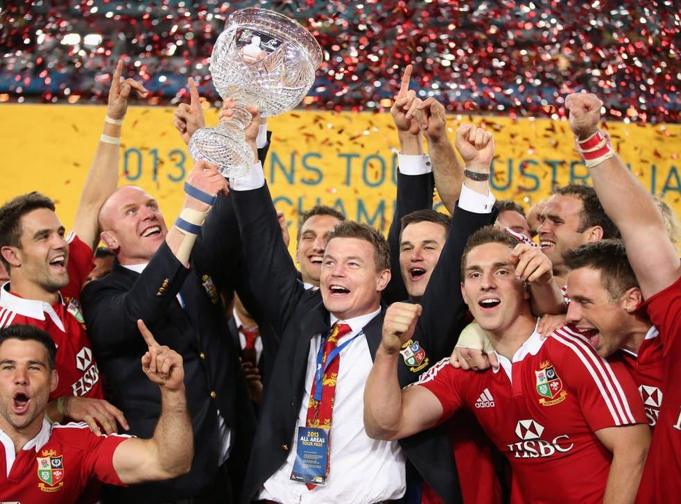 Brian O'Driscoll celebrates the series victory
