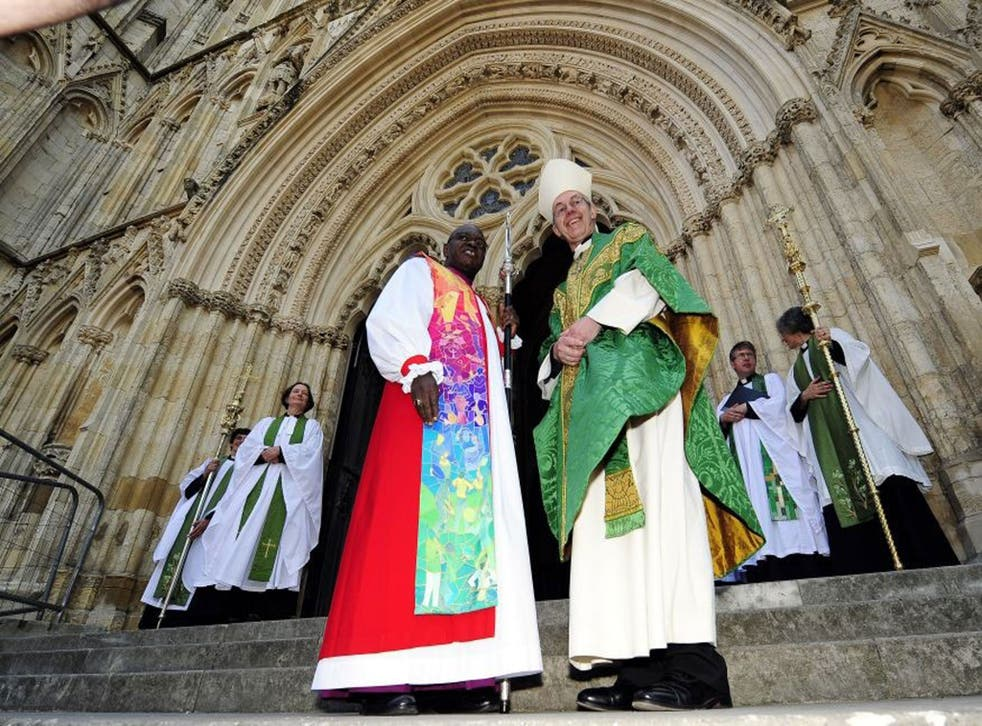 Dr John Sentamu, the Archbishop of York (left) and The Archbishop of Canterbury the Most Rev. Justin Welby at the Church of England General Synod Service in York Minster