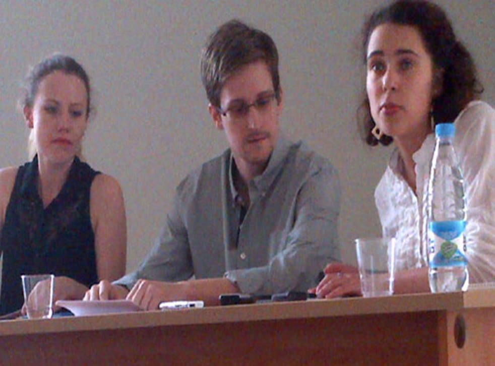 Edward Snowden at a meeting with human rights campaigners at Moscow's Sheremetyevo airport today