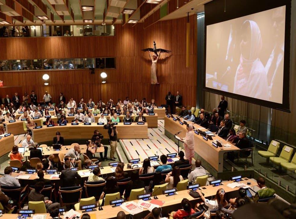 Malala addresses the UN
