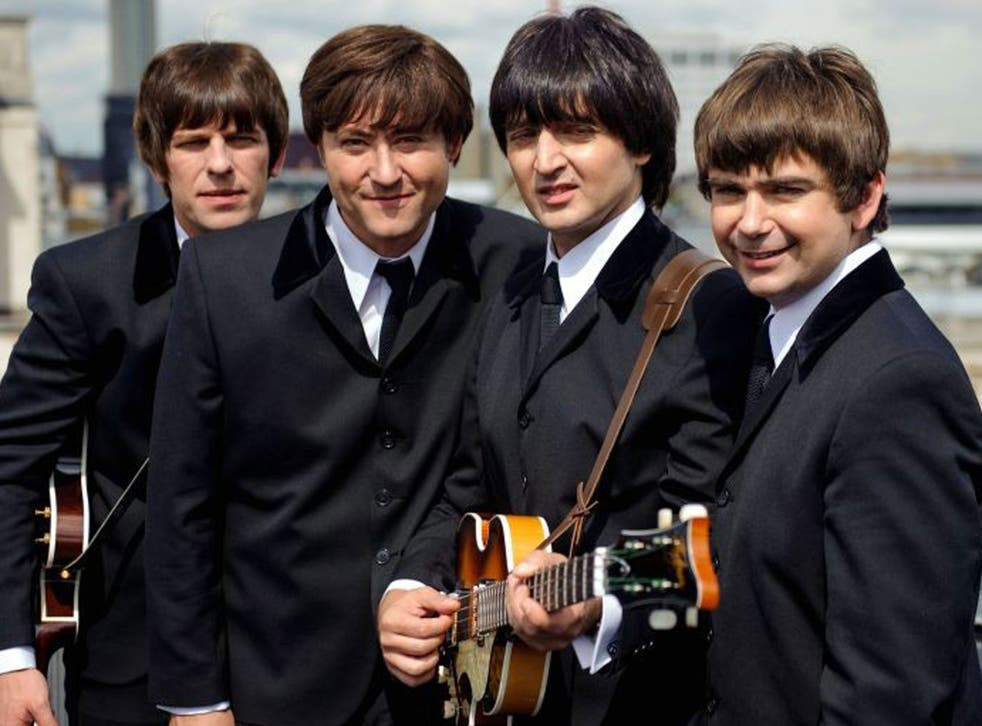 Cast members of the new Beatles musical 'Let It Be', which is being sued by a rival production