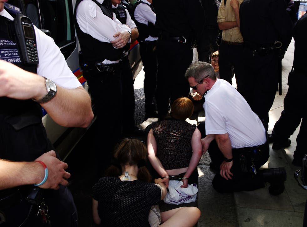 A student protester is arrested at ULU