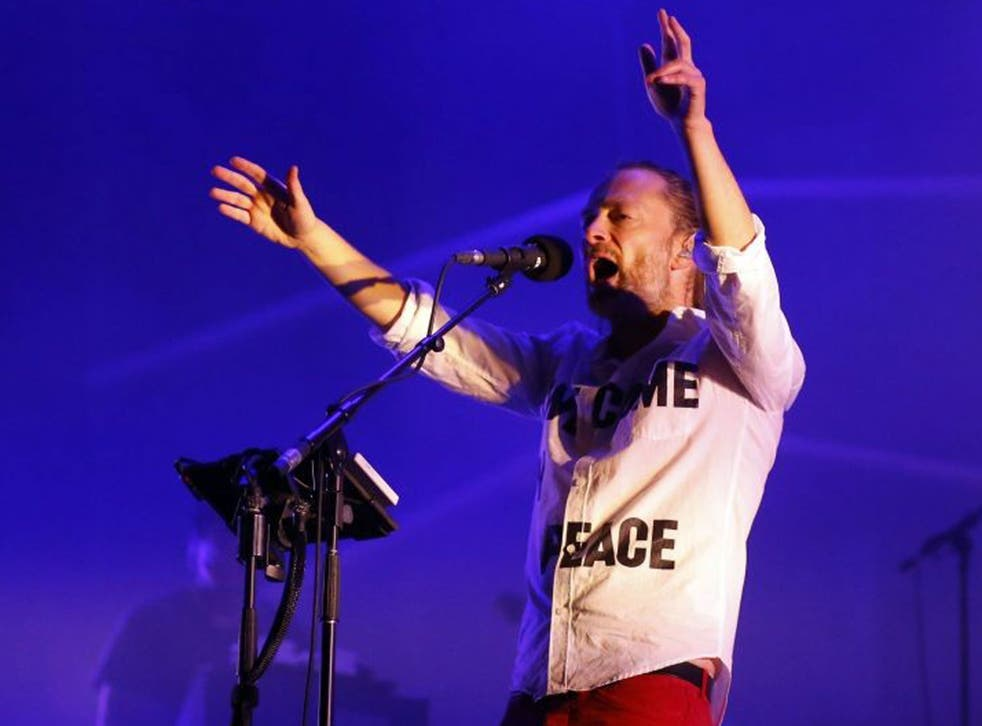 Thom Yorke, performing with Atoms For Peace