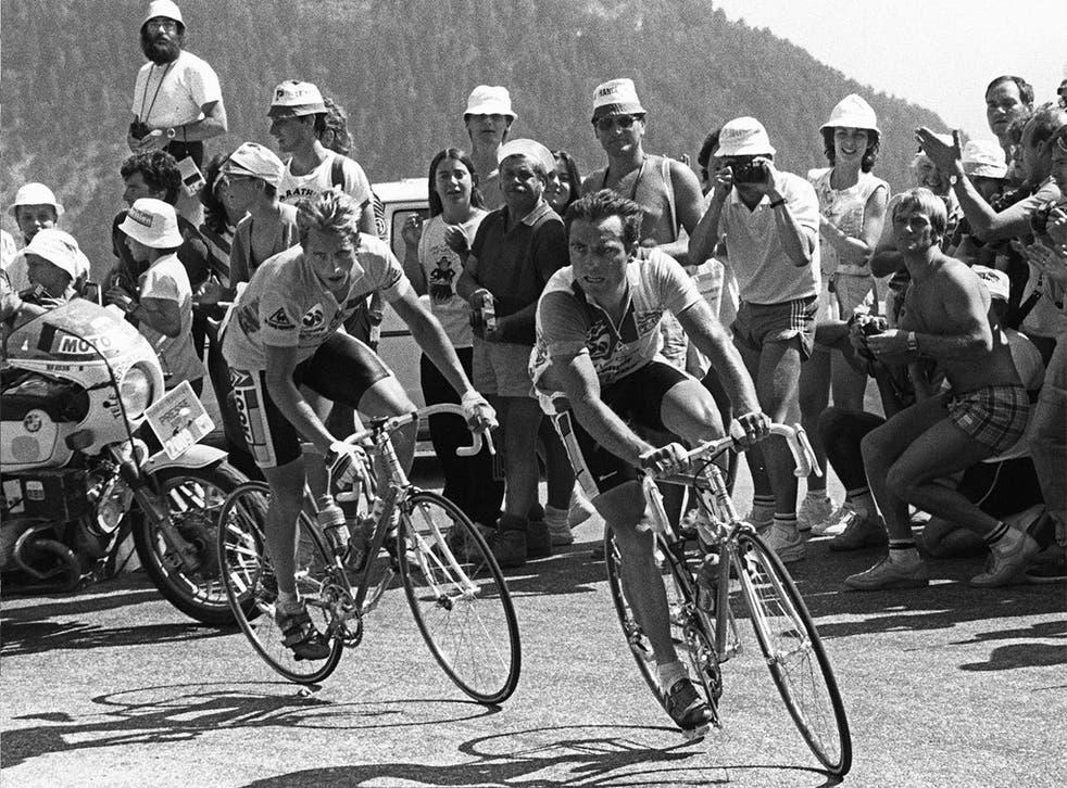 Greg Lemond (left) and Bernard Hinault tackle Alpe d' Huez in 1986