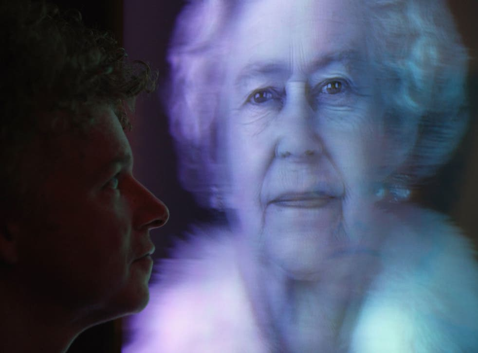 Artist Chris Levine views his hologram image of Her Majesty Queen Elizabeth II entitled 'Equanimity'