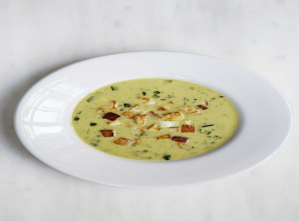 Cucumber and lovage soup with crispy haloumi