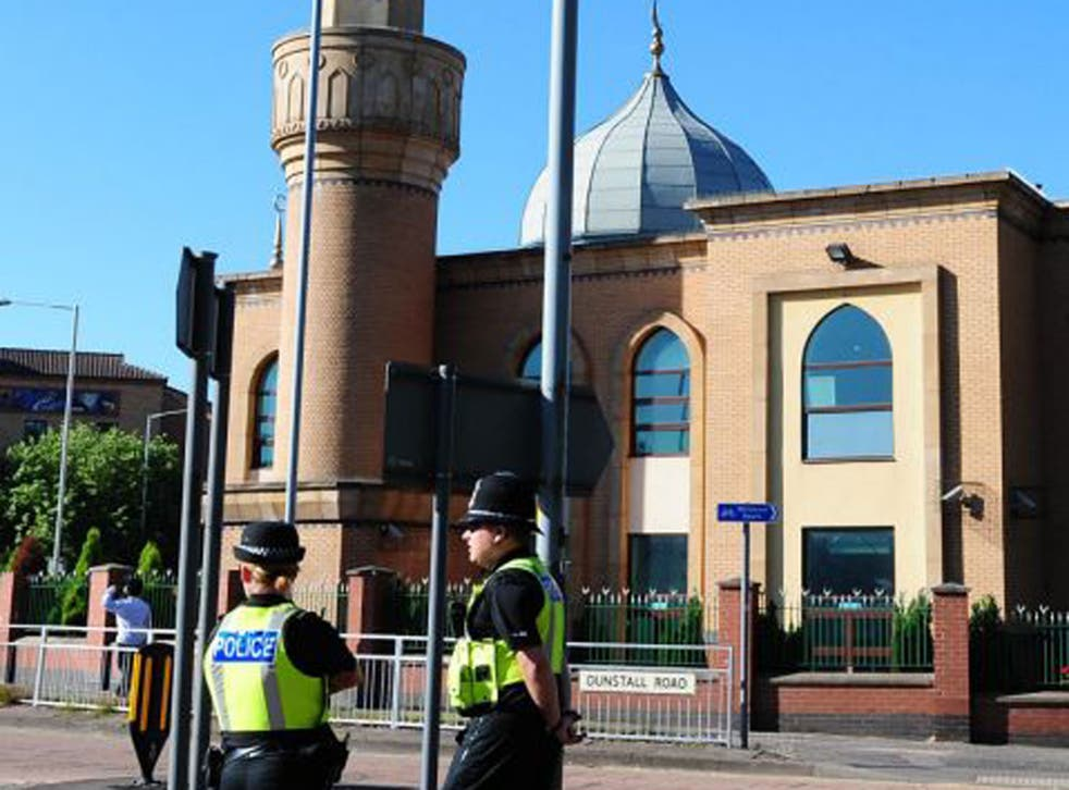 Police officers on patrol outside the Wolverhampton Central Mosque