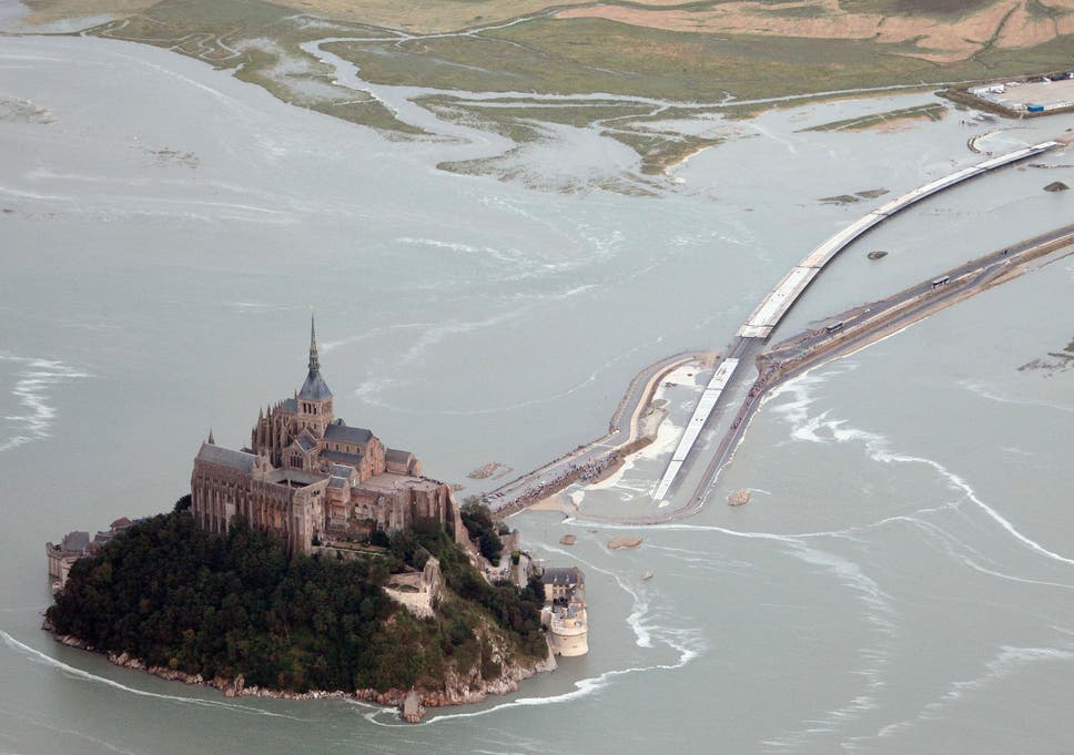 Normandy Island Mont Saint Michel Cut Off By Extreme High