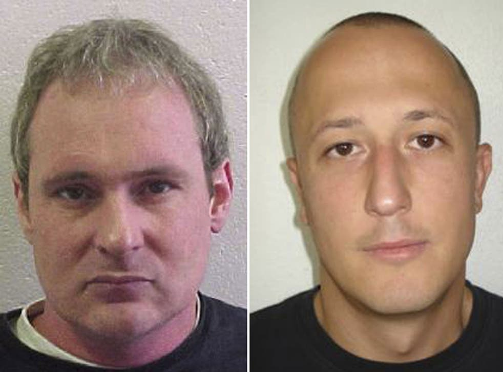 Fugitives Adrian Albrecht, left, and Milan Poparovic who escaped from a Swiss prison on Thursday