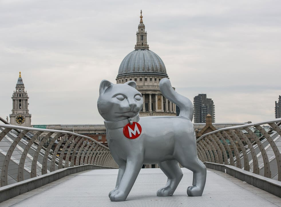The new Monopoly cat on the Millennium Bridge in London