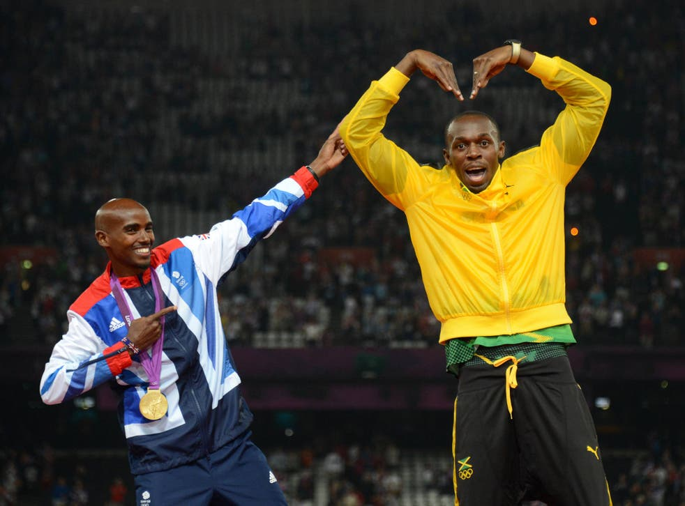 Usain Bolt and Mo Farah pictured at London 2012