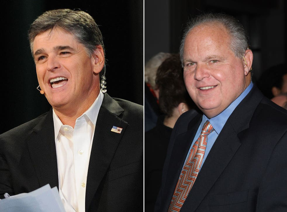 Sean Hannity, left, and Rush Limbaugh are said to be dropped from the airwaves
