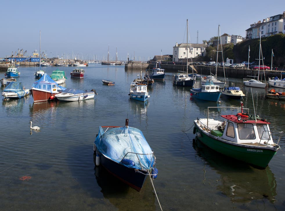 Fishing boats in the harbour of seaside town, Brixham