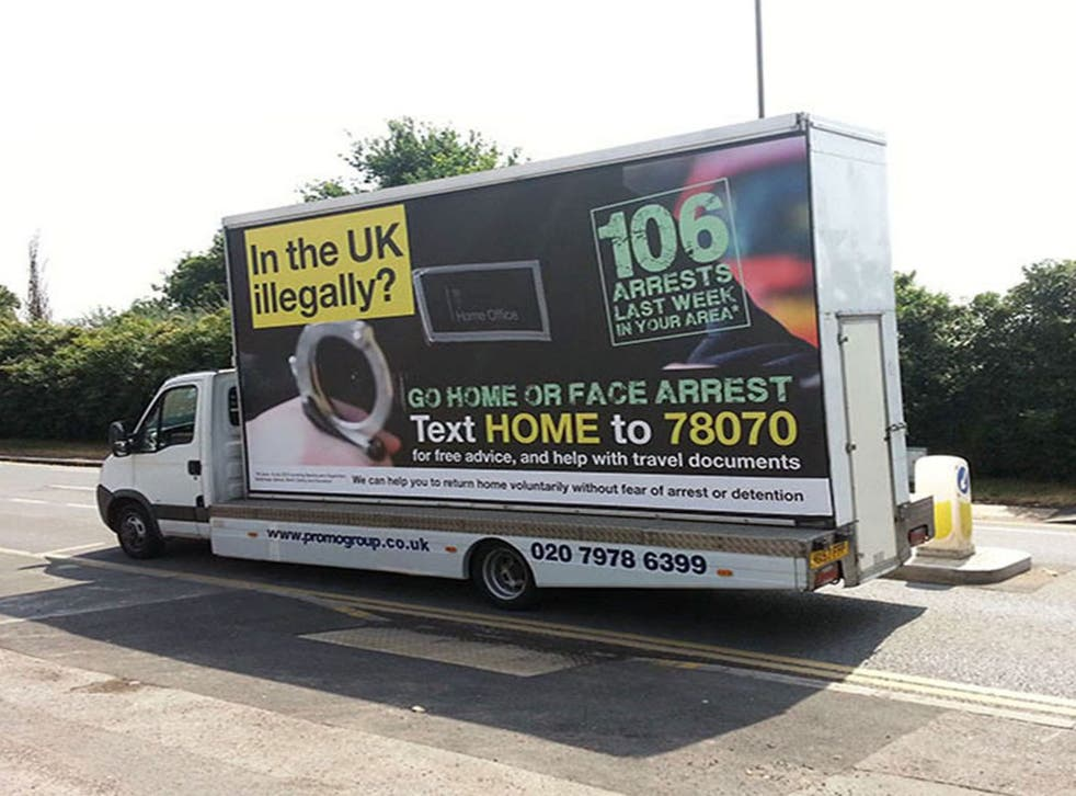 The Home Office's 'go home' ad vans have been accused of using a French designer's copyrighted typeface without permission