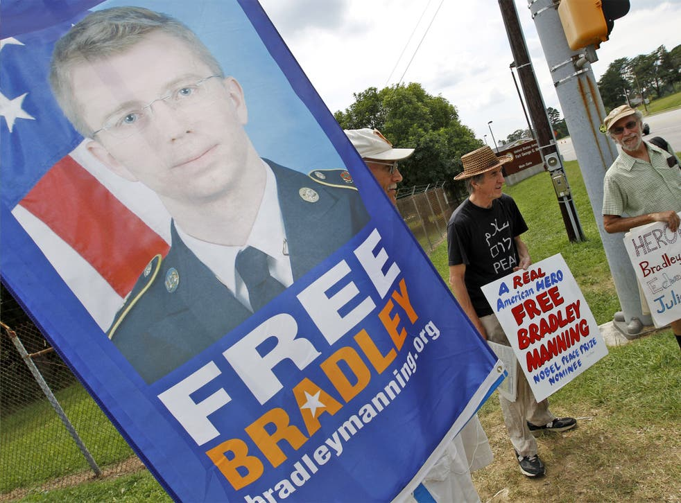 Supporters of Bradley Manning outside the gates at Fort Meade on Tuesday