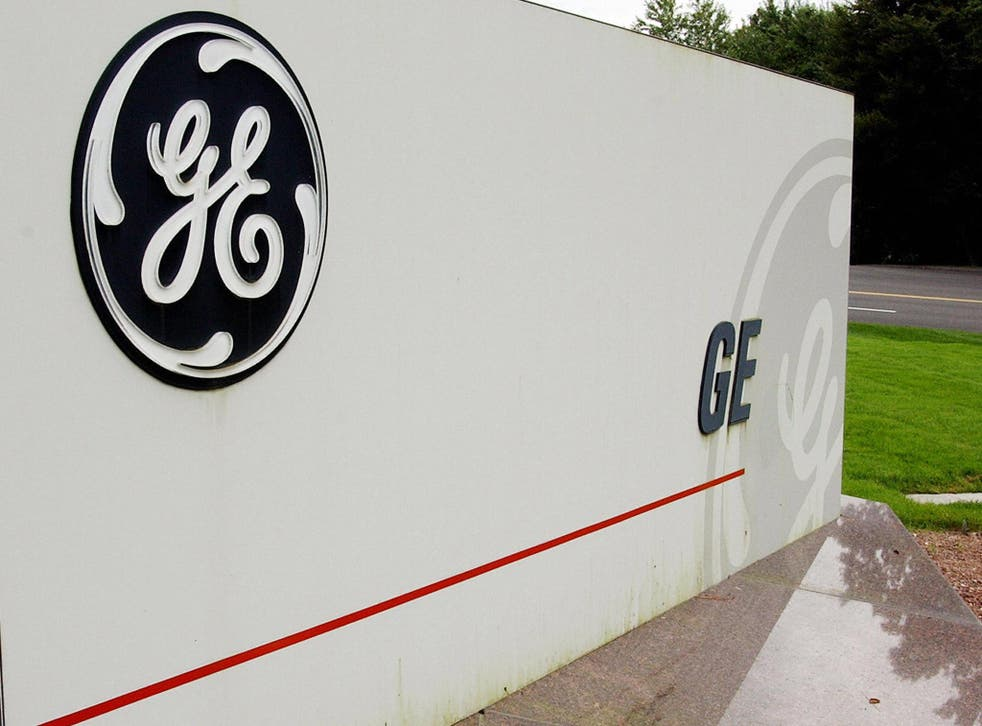 A sign outside the corporate headquarters of the General Electric company, in Fairfield, Connecticut