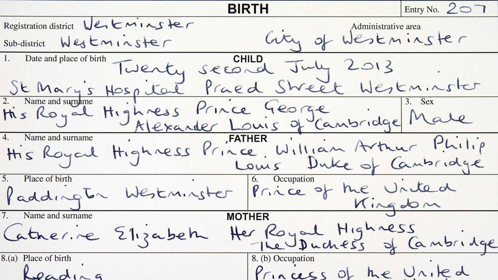 Royal Baby Duke And Duchess Of Cambridge Register Birth Of Prince