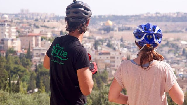 On a city cycle tour looking towards Jerusalem