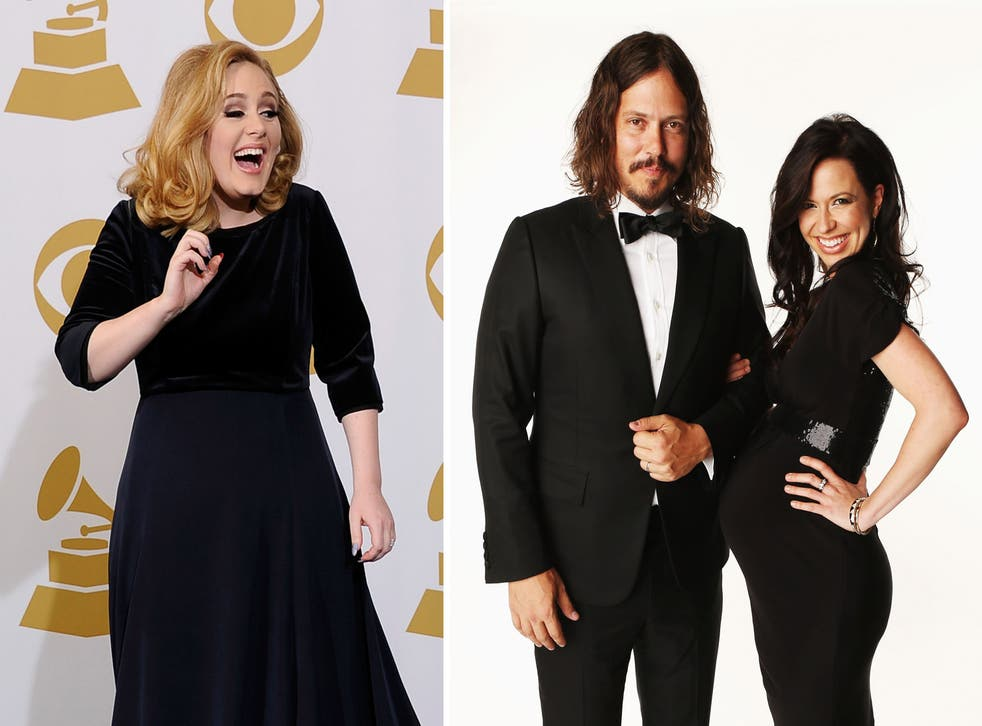 Adele (right) and The Civil Wars (left): The British singer has endorsed the American folk act on her Twitter and their new album is set to hit No 1 in the UK charts
