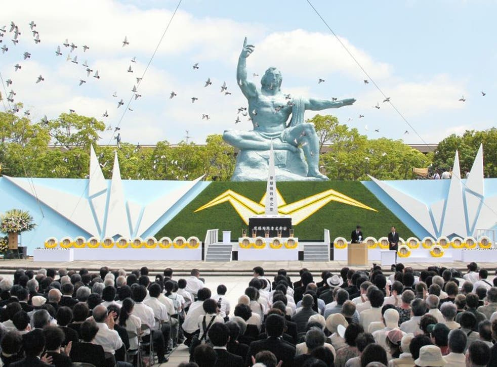 Doves are released after a peace declaration given by Nagasaki City mayor Tomihisa Taue during the Peace Memorial at the Peace Park on 9 August 9 2013 in Nagasaki, Japan