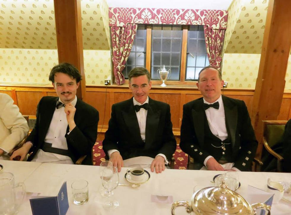 Jacob Rees-Mogg, centre with Gregory Lauder-Frost, right, at the Traditional Britain Group's dinner