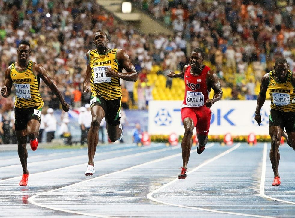 Usain Bolt storms to victory in the 100m last night, with Justin Gatlin second