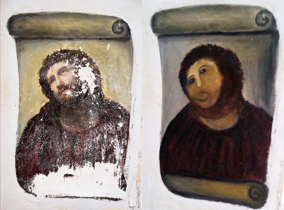 The Spanish church's fresco was succumbing to damp, left, before its facelift