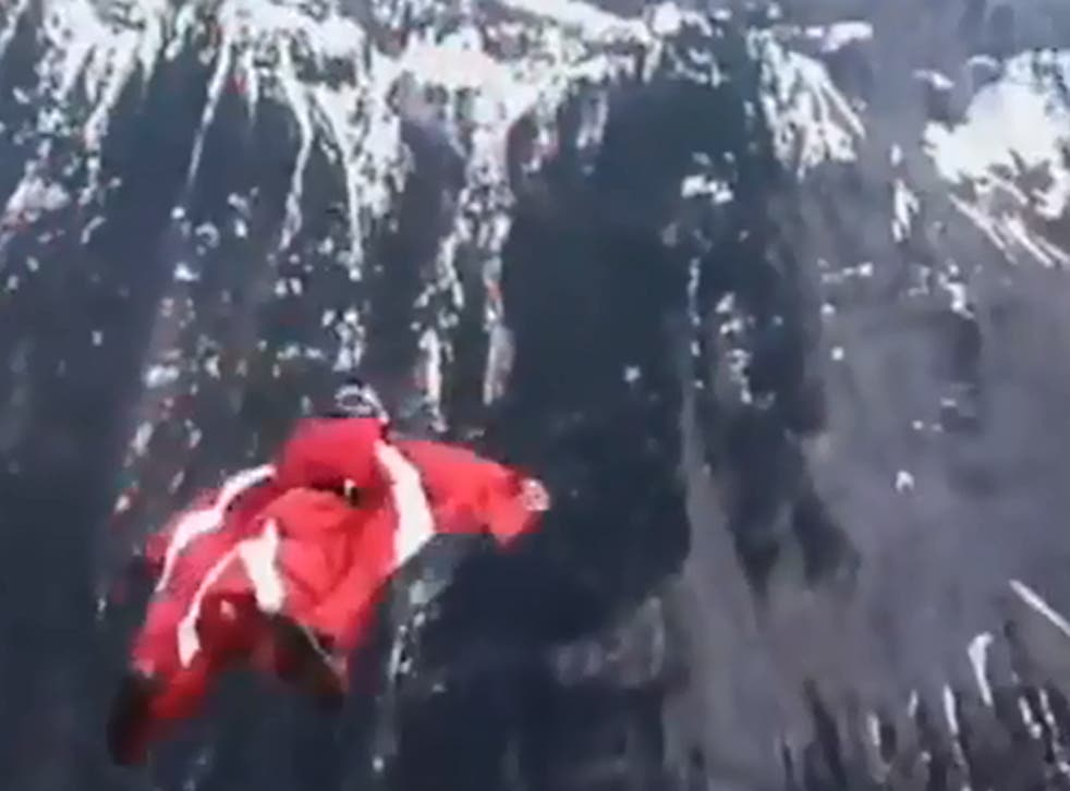 Mark Sutton using a wingsuit in the tribute video on YouTube