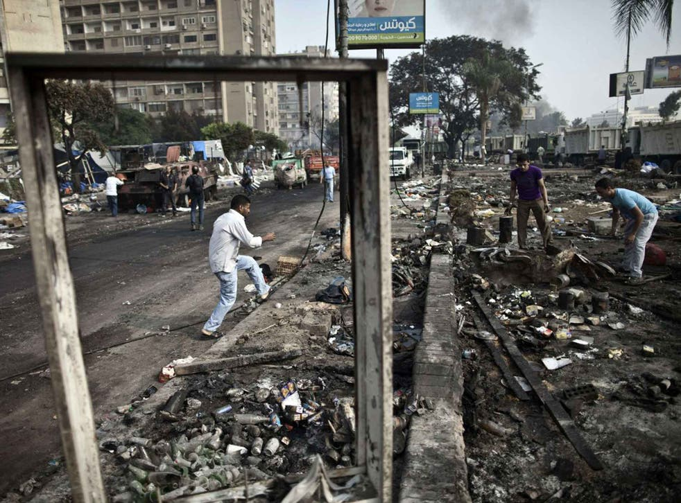The debris of Rabaa al-Adawiya square in Cairo