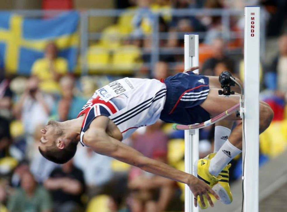 Robert Grabarz clears the bar during yesterday's high jump