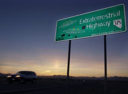 A car moves along the Extraterrestrial Highway near Rachel, Nevada, on the east side of Area 51