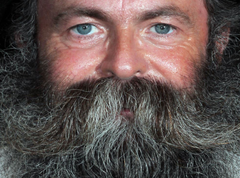 A man shows off his fulsome beard at the Alpine Beard Competition