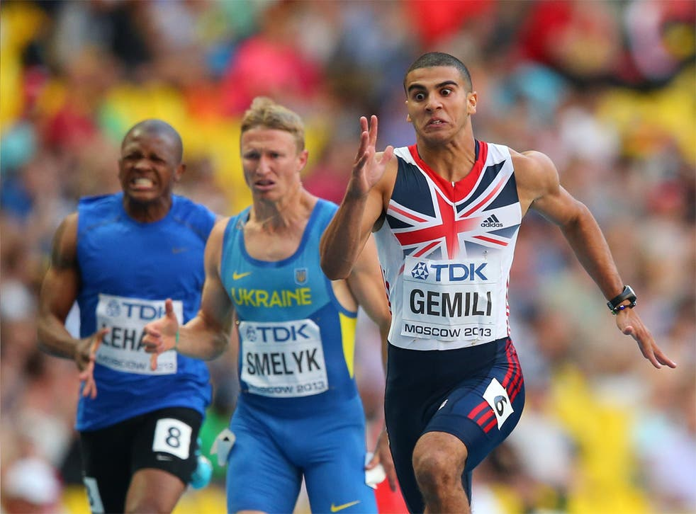Adam Gemili on his way to a sub-20sec 200m yesterday