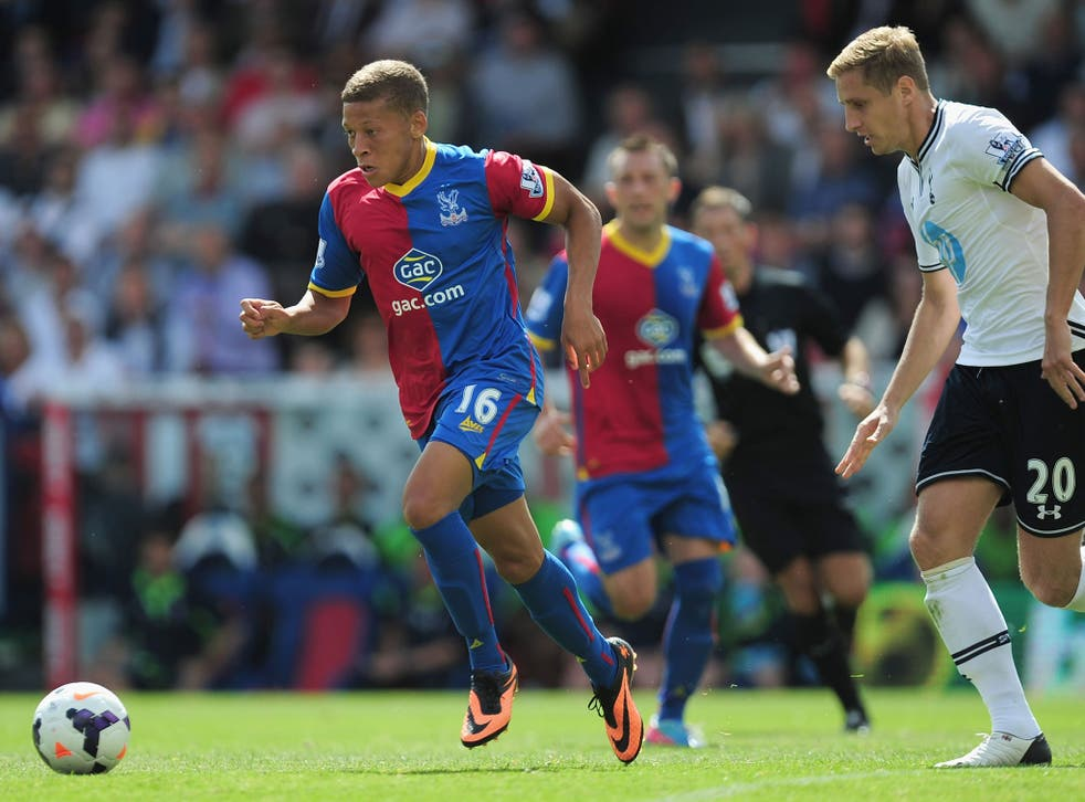 New Crystal Palace signing Dwight Gayle in action for the club against Tottenham today