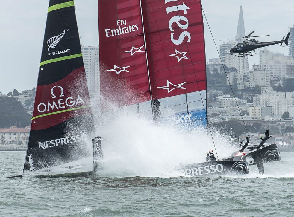 Emirates Team New Zealand, had to pull out of the second race as the complex hydraulic control system failed when they were leading comfortably