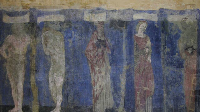Wall painting in the bedroom at Red House, showing (left to right) Adam, Eve, Noah, Rachel, Jacob