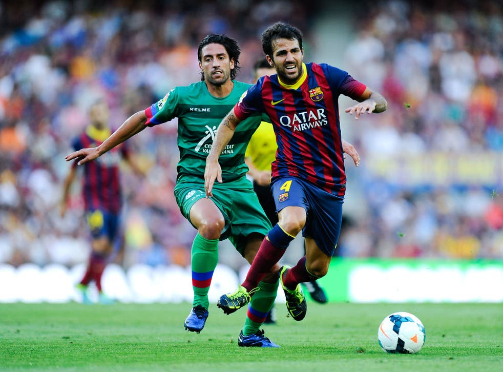 Cesc Fabregas made three assists in Barcelona's 7-0 win over Levante