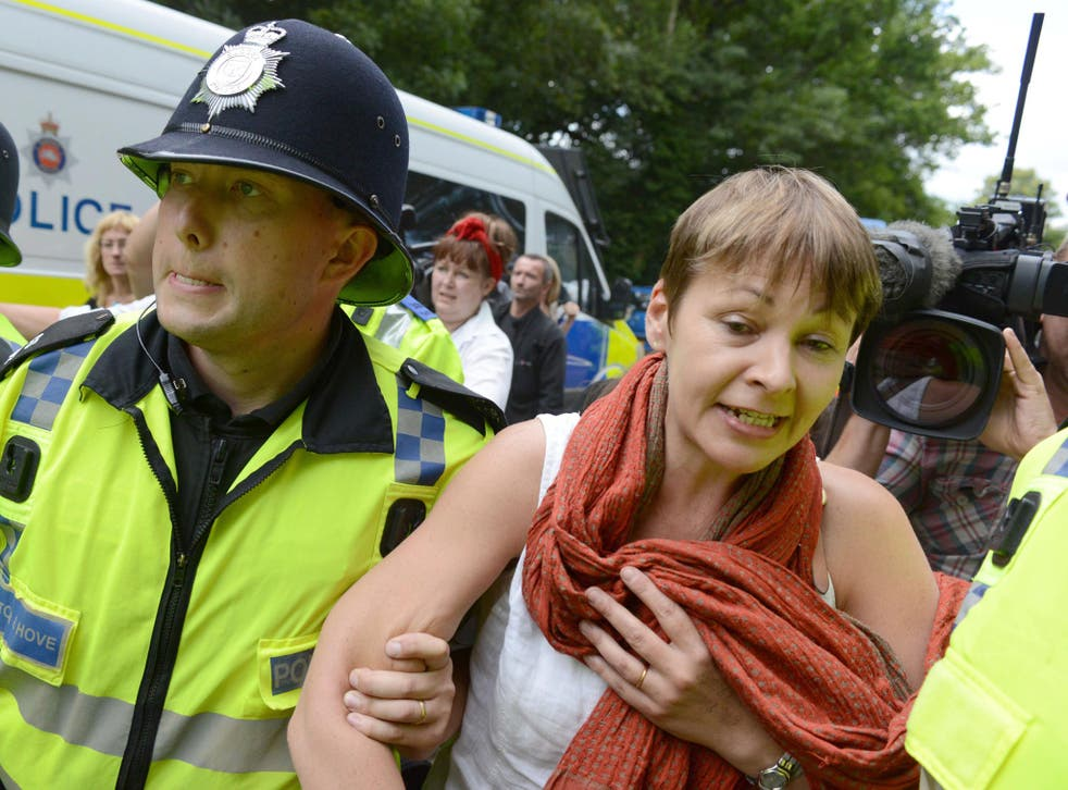Green MP Caroline Lucas is arrested near Balcombe during the anti-fracking protests