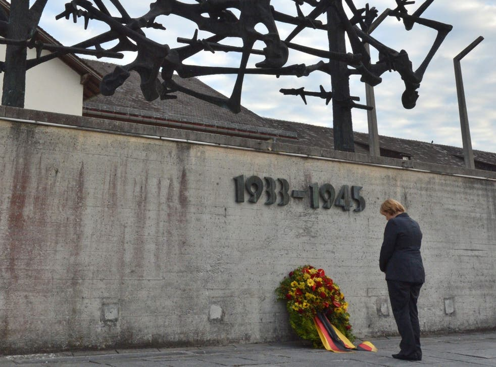 Angela Merkel at the concentration camp memorial in Dachau