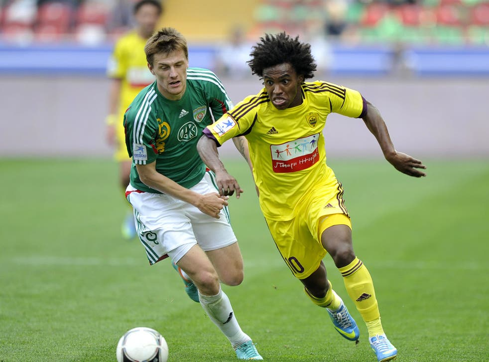 Willian (right) only joined Anzhi Makhachkala in January